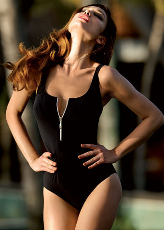 Anita Elouise Black Swimsuit with zip 7742 nonwired