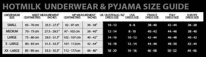 HOtmilk Enchanted Nursing Pyjamas Sizing Chart